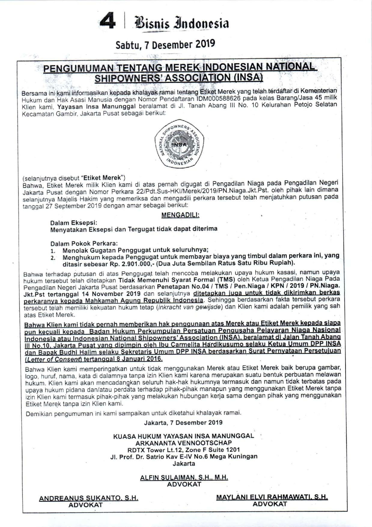 PENGUMUMAN TENTANG MEREK INDONESIAN NATIONAL SHIPOWNERS' ASSOCIATION (INSA)